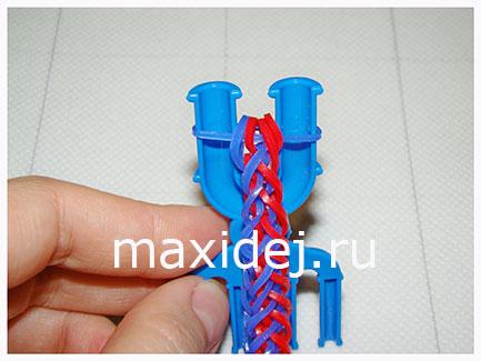 как закончить браслет из резинок