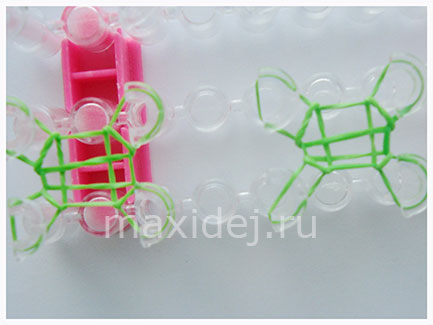 схема плетения из резинок на станке