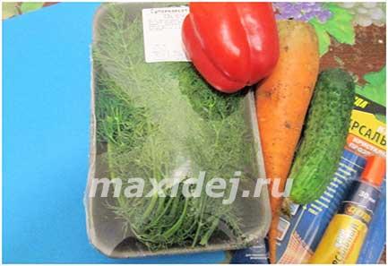 поделка павлин из овощей