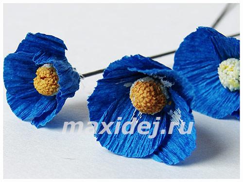 как сделать цветы из гофрированной бумаги незабудки