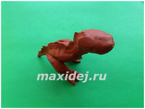 лепка динозавров из пластилина