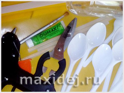 кувшинка из пластиковых ложек пошаговое фото
