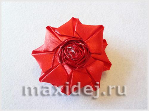 канзаши для начинающих пошаговое фото роза