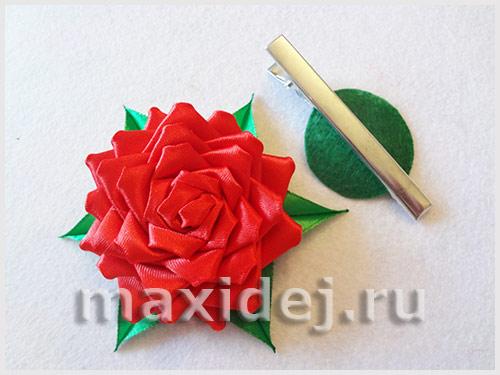 розы канзаши из атласных лент