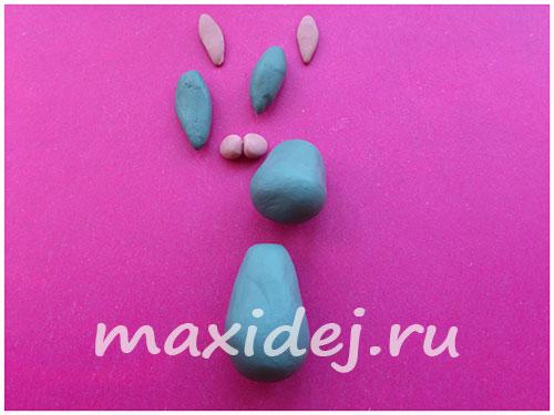 лепка зайца из пластилина поэтапно