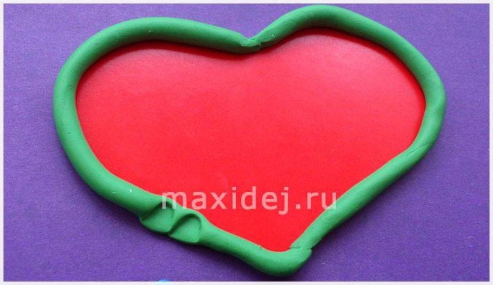валентинка из картона и пластилина